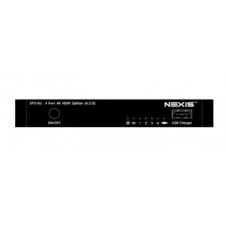 NEXIS 4 Port 4K HDMI Splitter (4:2:0) with USB Charger