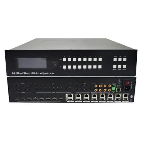 100m HDBT 8x8 Matrix, Support 18G, HDR, 4K2K@60Hz, YUV 4:4:4
